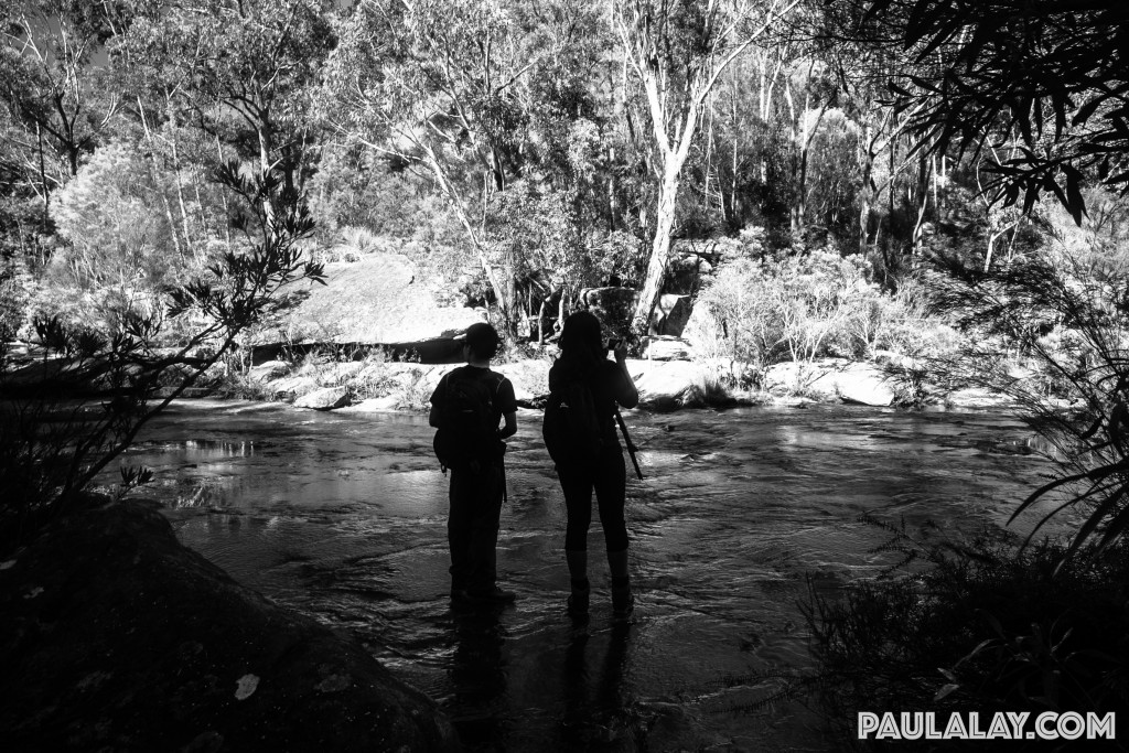Crossing the water at Karloo Pools