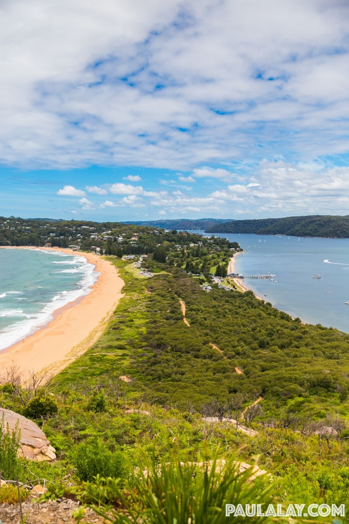 View 50 m before the top - Palm Beach on left, Barrenjoey Beach on right